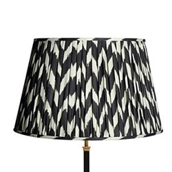 Straight Empire Ikat printed lampshade, 50cm, black zig-zag linen
