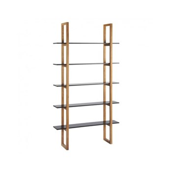 Loki 5 shelf oak bookcase, W110 x H200 x D28cm, black