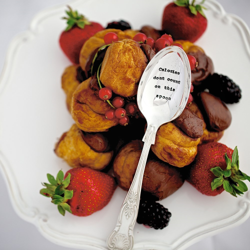 Calories Don't Count Dessert spoon, 16cm, Silver Plated