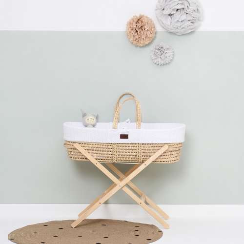 Natural Knitted Moses basket & mattress, H76 x W30 x L76cm, White