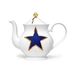 Lucky Stars Large teapot, 18 x 22 x 10cm, crisp white & cobalt blue/burnished gold details