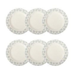 Helice Chalk Set of 6 side plates, W22 x H2cm, chalk/white