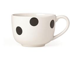 Deco Dot Latte mug, 41cl, white and black