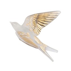 Hirondelles Wall swallow wings up, H8.8 x L15.3 x W16.6cm, gold stamped/satin finish