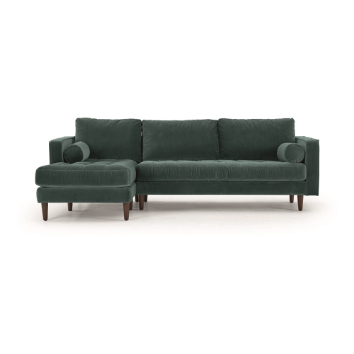 Scott 4 seater left hand facing corner sofa, H83 x W259 x D171cm, Petrol Cotton Velvet