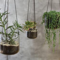 Viri Medium hanging planter, D13 x 13cm, Clear Hammered Glass
