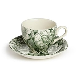 Burleigh Hibiscus Teacup and Saucer, green floral print