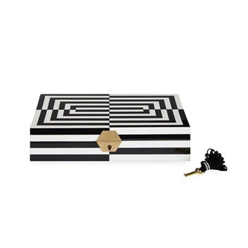Op Art Lacquer jewelry box, small, Black/White