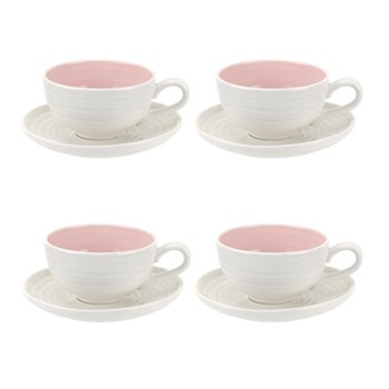 Colour Pop Set of 4 teacups and saucers, 0.20L, pink