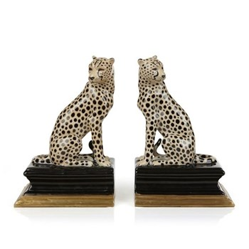 Cheetah Bookends, H20 x W13 x D10cm, brown