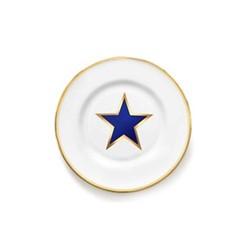 Lucky Stars Side plate, 17cm, crisp white & cobalt blue/burnished gold edge