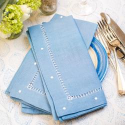 Dots Set of 4 napkins, 47 x 47cm, Sky Blue Linen