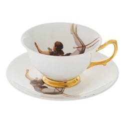 Trapeze Girl Teacup and saucer, crisp white/burnished gold details