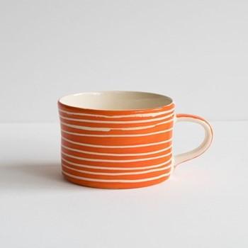 Sgrafitto Stripe Set of 6 mugs, H7 x W10.5cm, tangerine