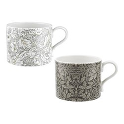 Pure Morris - Bachelors & Acorn Pair of mugs, 34cl, grey/white
