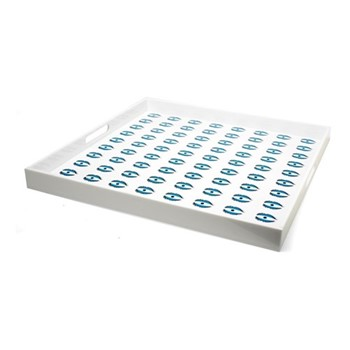 Eye Large acrylic serving tray, 35 x 35cm, white