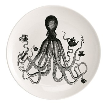 Octopus For Tea Plate, Dia25.5cm, black/white