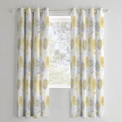 Banbury Floral Curtains, 168 x 183cm, yellow