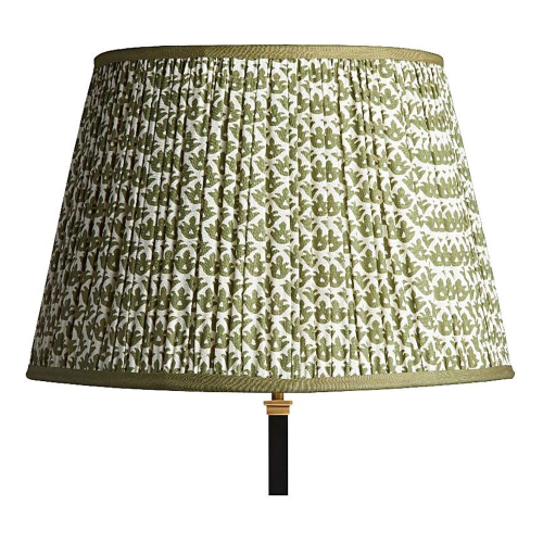 Straight Empire Block printed lampshade, 45cm, Temple Green