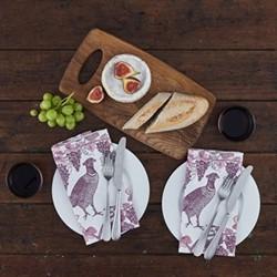 Pheasant & Vine Set of 4 napkins, 45 x 45cm, white/soft pink/dusty purple