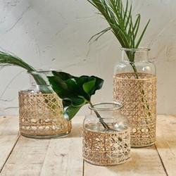 Uma Cane Medium vase, Dia27 x 22cm, clear glass & cane