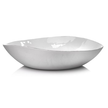 Silver Rim Extra large salad bowl, D43cm, white and silver
