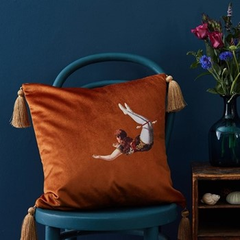 Trapeze Girl Velvet cushion, 45cm, Burnt orange