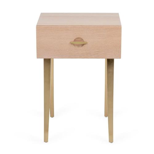 Crawford Bedside table, H56 x  W40 x D35cm, Light Oak