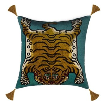 Saber Large velvet cushion, 60 x 60cm, teal