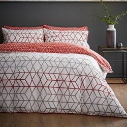 Linear Double quilt set, 200 x 200cm, terracotta