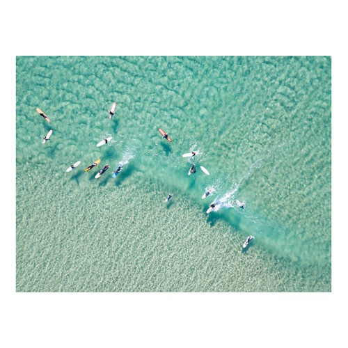 Crystal Clear Waters With Surfers Mounted print, H51 x W69cm, Perspex