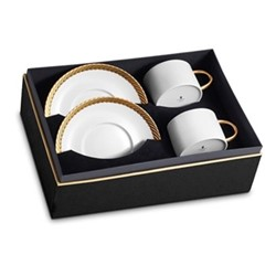 Corde Pair of teacups and saucers, gold