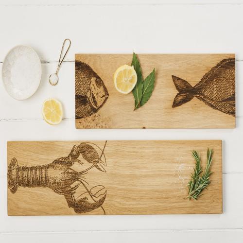 Fish Serving platter - medium, 45 x 15 x 1.8cm, Engraved Illustration
