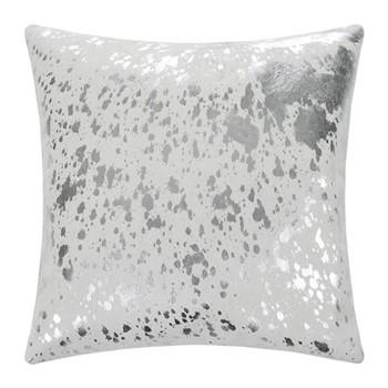 Cowhide Cushion, W45 x L45cm, white/silver
