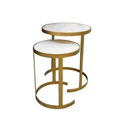Zeta Nest of two tables, Small - H38 x D30.5cm : Large - H45 x D37.5cm, iron/marble