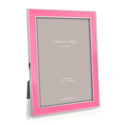 """Enamel Range Photograph frame, 5 x 7"""" with 15mm border, Pink With Silver Plate"""