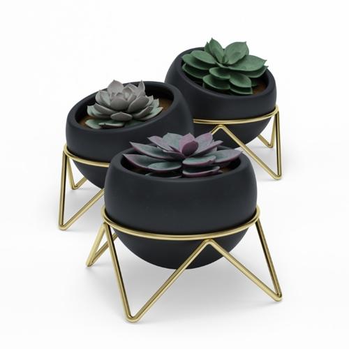 Potsy 3 pack planter, H10.5cm, Black/Brass