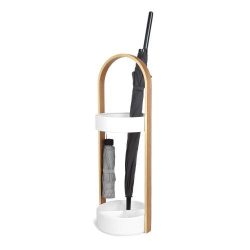 Hub Umbrella stand, 22 x 69cm, White/Natural