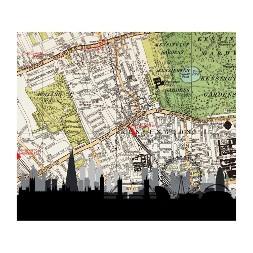London Skyline Unframed silhouette image with personalised map, 35 x 30cm