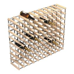 90 bottle wine rack, H81 x W100 x D23cm, natural/galvanised steel