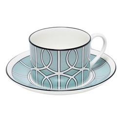 Loop Teacup and saucer, H8.4cm - Saucer 15cm, duck egg/white (black rim)