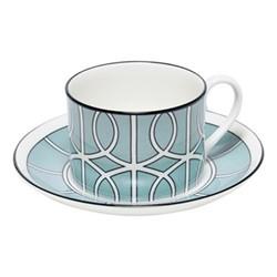 Loop Teacup and saucer, H8.4cm - Saucer 15cm, duck egg/white (black rim)