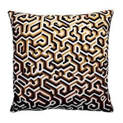 Maze Satin cushion, W40 x L40cm, ochre/black/white