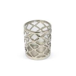 Regency Small lattice hurricane, H12 x D14cm, aluminium/glass