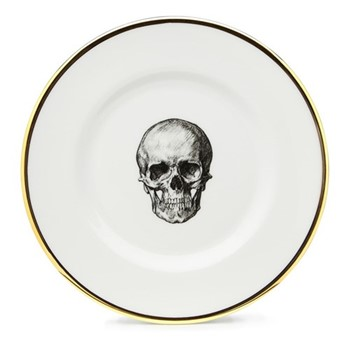 Skull Side plate, 17cm, crisp white/burnished gold edge