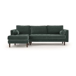 Scott 4 seater left hand facing corner sofa, H83 x W259 x D171cm, petrol cotton velvet