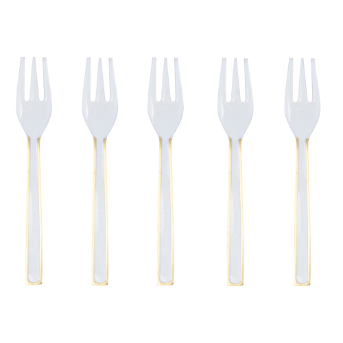 Enamel Set of 5 cake forks, 12cm, Gold/Cream