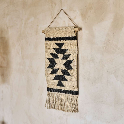 Hombi Aztec Hemp wall hanging, H78 x W46cm, Black
