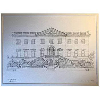 Pen and Ink Drawing Bespoke architectural portrait, mounted, A4