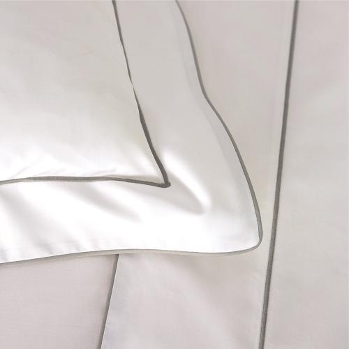 Flandre - 200 Thread Count Cotton Percale Super king duvet cover, 260 x 220cm, Platine